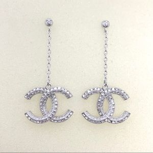 Chanel Silver Square Crystal CC Long Chain Drop